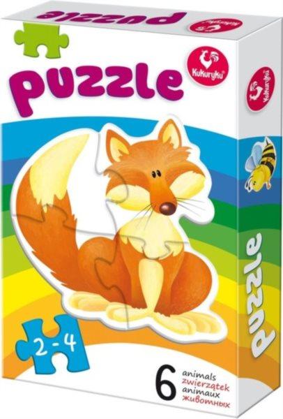 KUKURYKU Baby puzzle Zvířátka 6v1 (2-4 dílky)