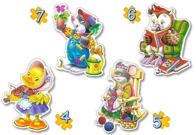 CASTORLAND Baby puzzle Zvířátka a volný čas 4v1 (4,5,6,7 dílků)