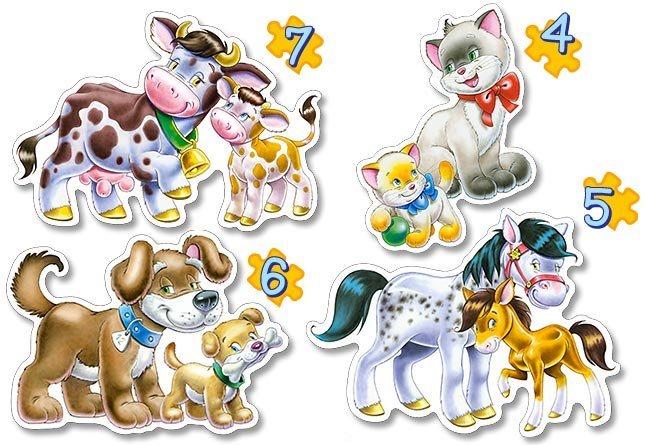CASTORLAND Baby puzzle Zvířátka s mláďaty 4v1 (4,5,6,7 dílků)