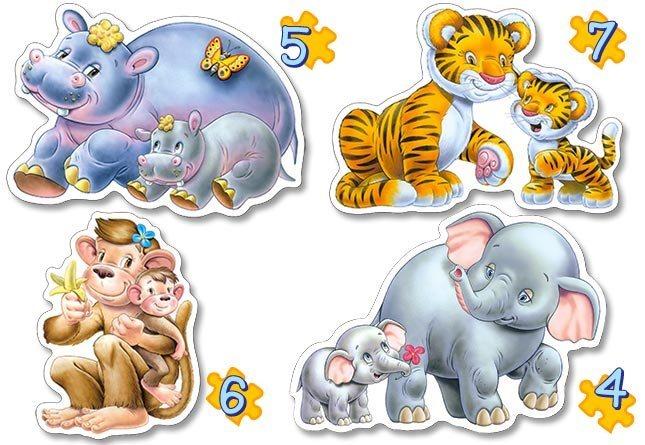 CASTORLAND Baby puzzle Zvířátka s mláďaty - džungle 4v1 (4,5,6,7 dílků)