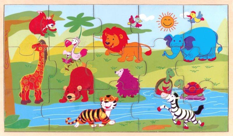 PLAYME Puzzle Zvířátka u řeky 15 dílků