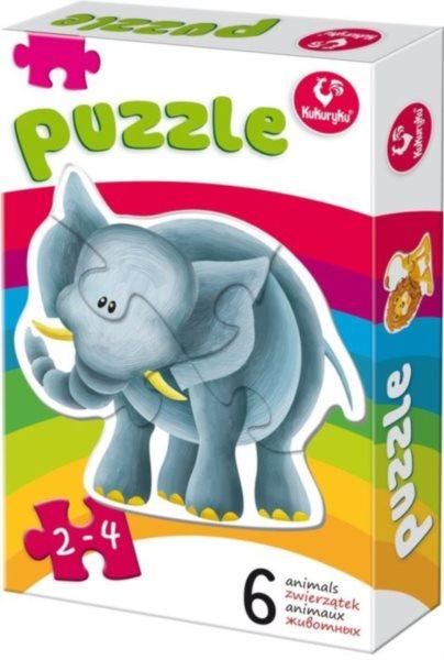 KUKURYKU Baby puzzle Zvířátka ze ZOO 6v1 (2-4 dílky)
