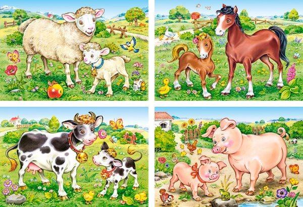 CASTORLAND Puzzle Zvířecí maminky s mláďaty 4v1 (8,12,15,20 dílků)