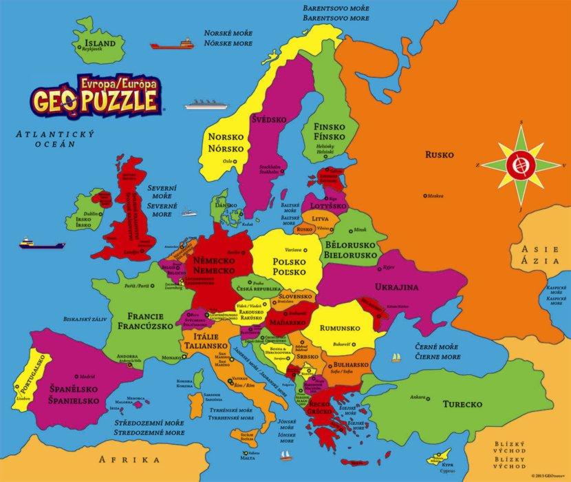 DINO GEOpuzzle Evropa 58 Dílků
