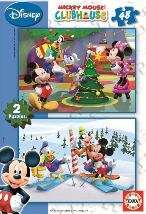 Dětské puzzle educa mickeyho klubík vánoce 2x48 dílků