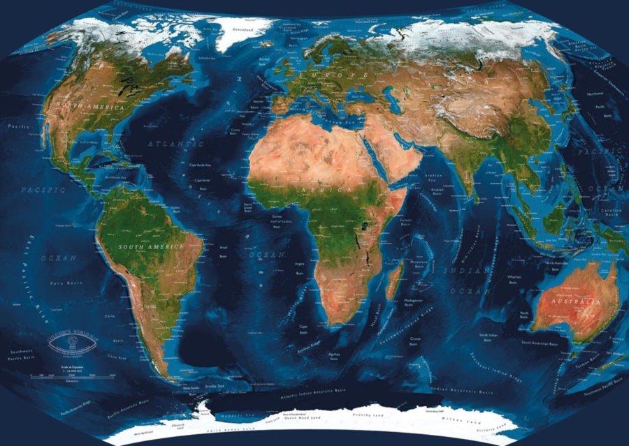 karta sveta satelit RAVENSBURGER Multimediální puzzle Satelitní mapa světa (AR) 1000  karta sveta satelit