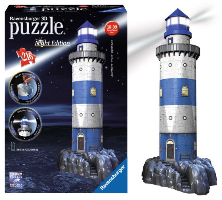 3b5345df6 RAVENSBURGER Svítící 3D puzzle Noční edice Maják 216 dílků | Puzzle ...