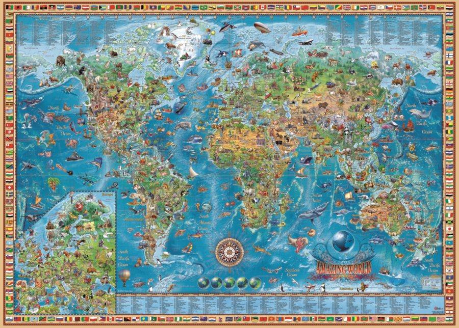 puzzle karta sveta HEYE Puzzle Úžasná mapa světa 3000 dílků | Puzzle puzzle.cz puzzle karta sveta