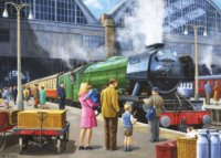 Puzzle Lokomotiva Flying Scotsman na Kings Cross 1000 dílků